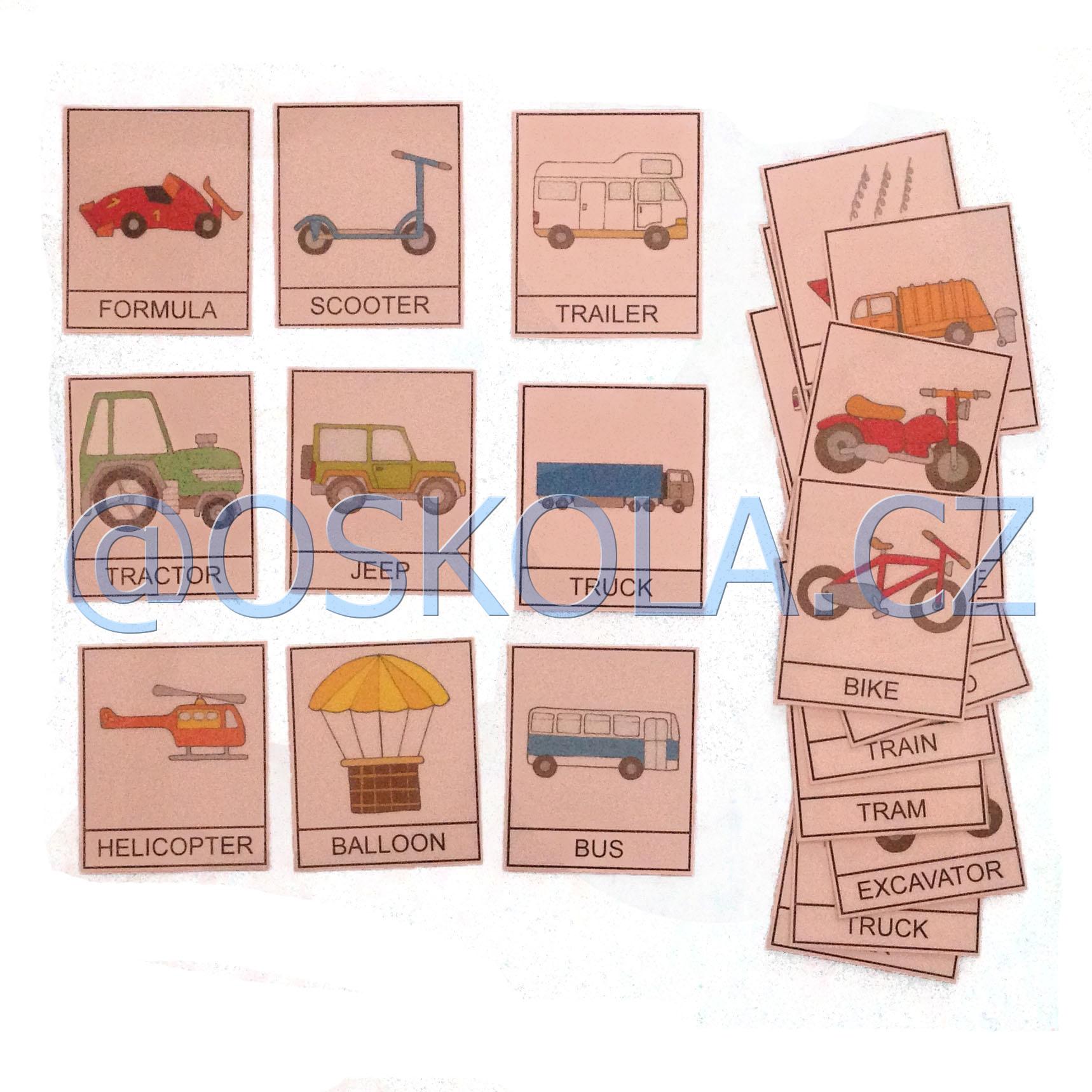 Means of transport - English cards