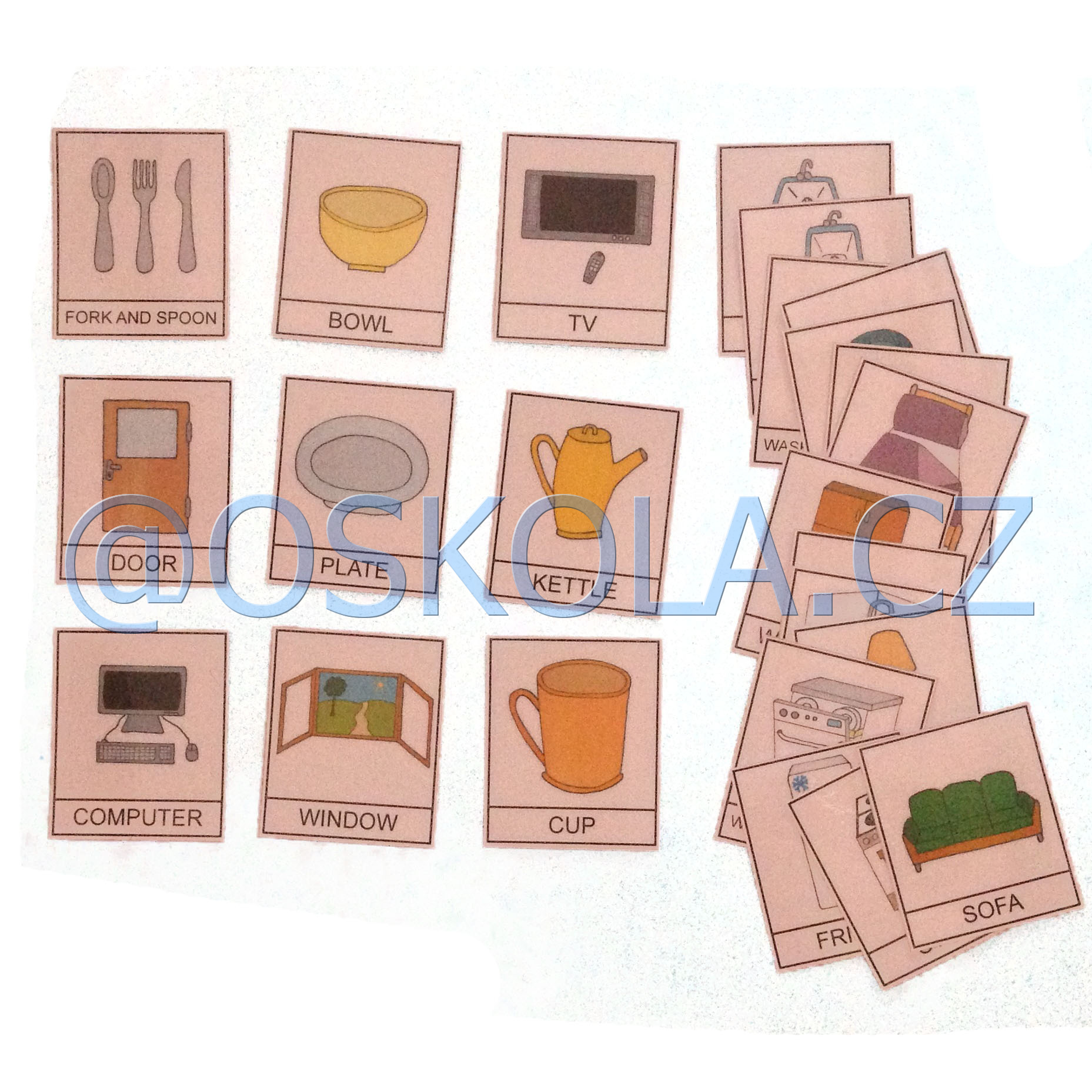 Things in the house - English cards - výprodej